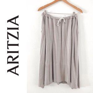 Aritzia Wilfred Free Grey Drawstring Midi Skirt